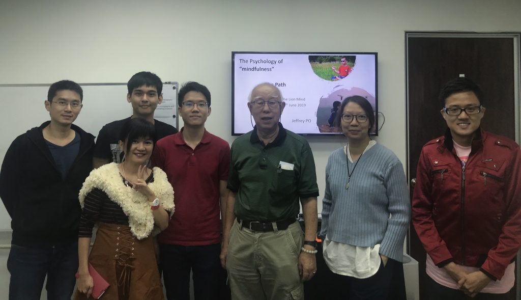 """Dr Jeffrey Po and some of the class participants for the workshop entitled: The Psychology of """"mindfulness"""" – the Journey"""